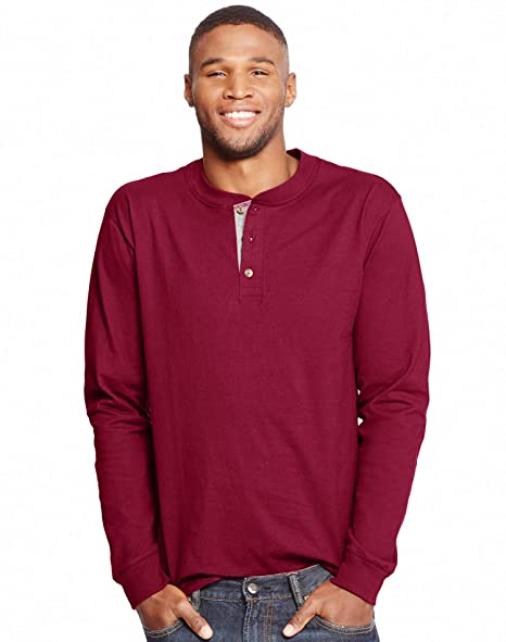 12492fff Hanes Men's Beefy-T Long-Sleeve Henley at Amazon Men's Clothing store: