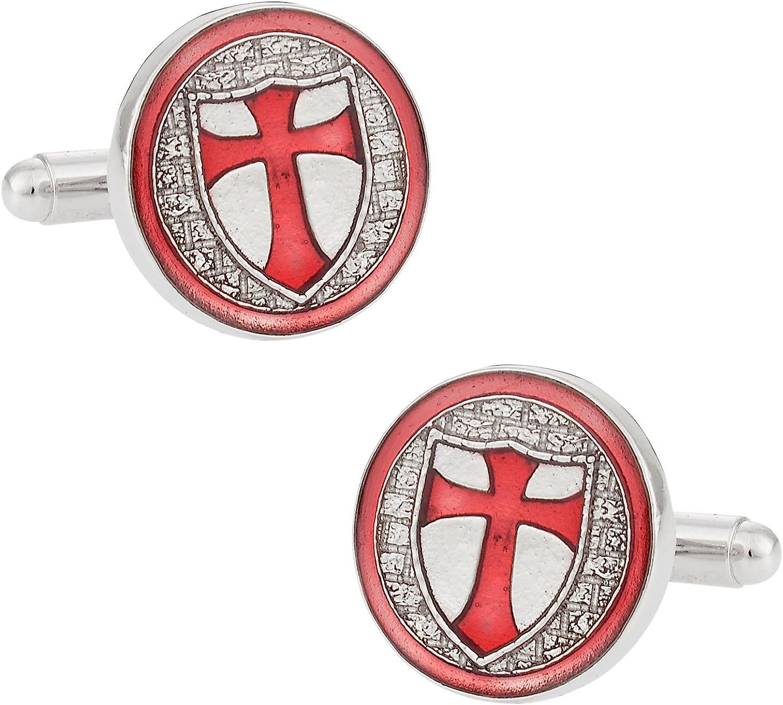 Cuff-Daddy Knights of Templar Silver Cufflinks with Presentation Box