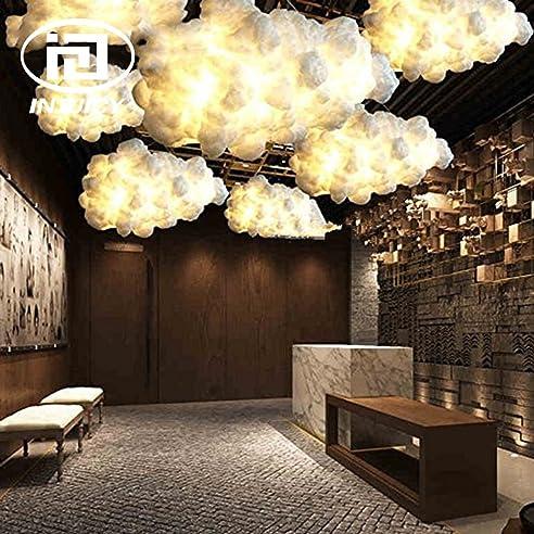 Injuicy Beleuchtung Deckenleuchten Modern E27 Edison LED Licht Wolke Kronleuchter  Lampe Hohle Baumwolle Deckenleuchte Kaffee Korridor