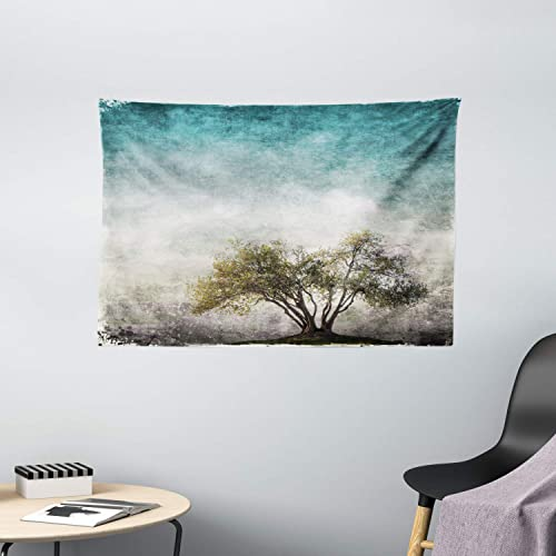 Ambesonne Tree of Life Tapestry, Grunge Landscape with Single Tree and Retro Background Rustic Print, Wide Wall Hanging for Bedroom Living Room Dorm, 60 X 40 , Beige Green