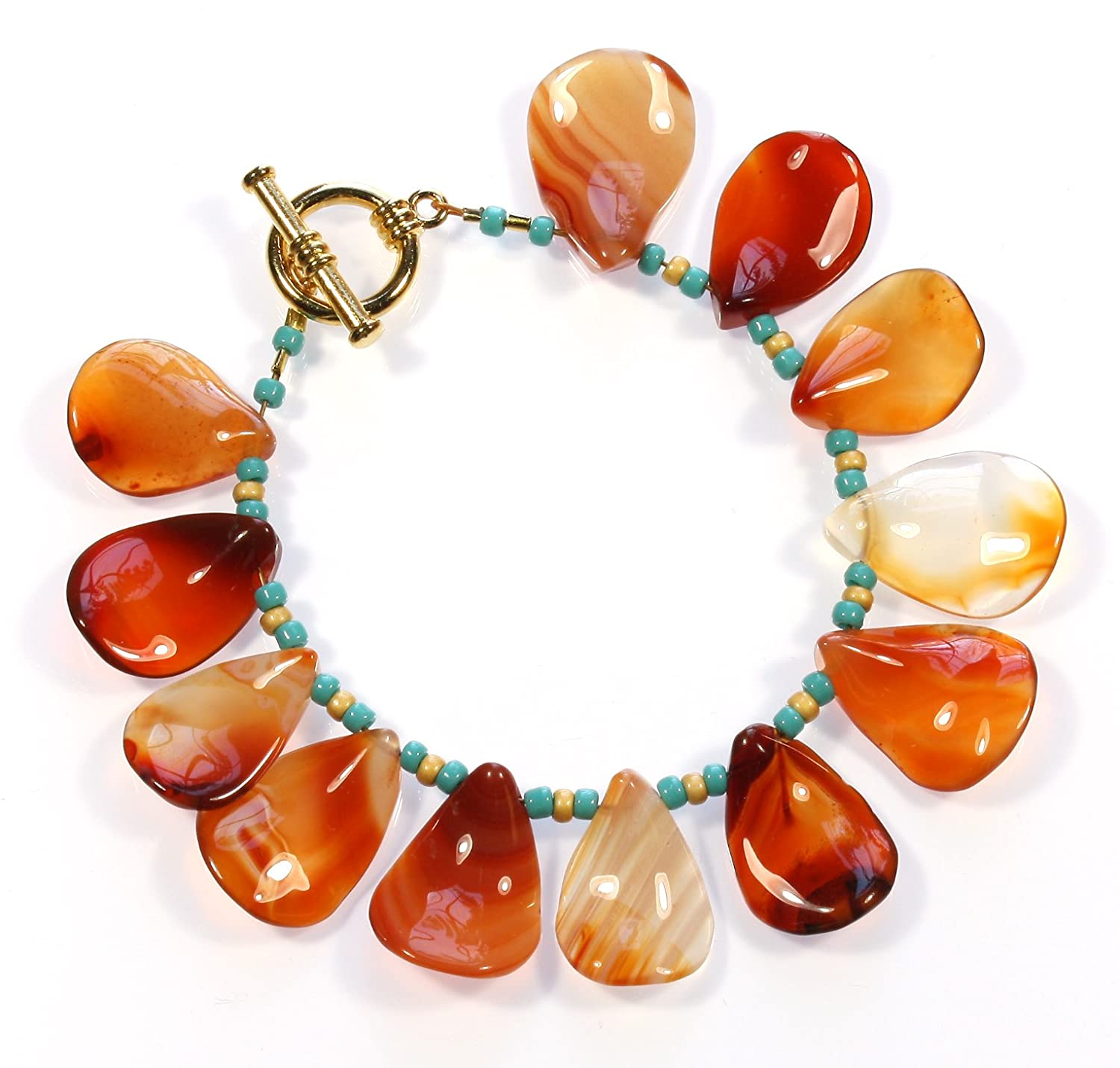 """Precious Petals"" Carnelian Bracelet with Petal Shaped Stones; 7.0 Inches"