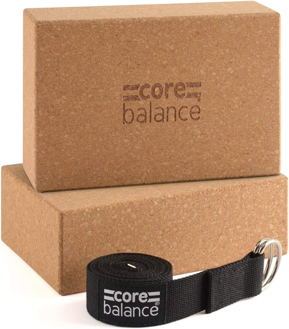 Pilates Strong Firm Lightweight Cotton With D Ring Buckle Cork Bricks With Belt Core Balance Yoga Blocks Set Of 2 /& Strap