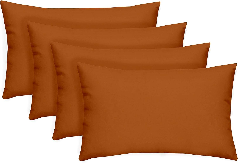Amazon Com Set Of 4 Indoor Outdoor Decorative Lumbar Rectangle Pillows Solid Pottery Clay Rust Burnt Orange Home Kitchen