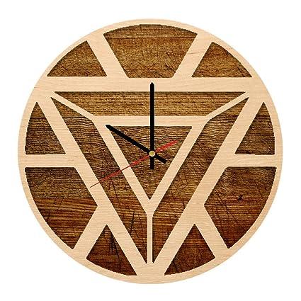 Amazon Com Iron Man Arc Reactor Art Design Handmade Wood Wall Clock