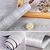 LoveFaye Light Gray Wood Grain Contact Paper Self Adhesive Shelf Liner Table Door Sticker 17.7 Inch by 9.8 Feet