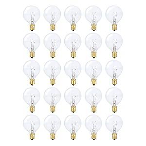 String Light Outdoor Globe G40 Replacement Bulb 5W E12 Candelabra Base C7 Socket by Simba Lighting for Patio, Café, Pergola, Porch, Clear Glass, 5 Watt 110V 120V, 2700K Warm White, Dimmable, 25 Pack