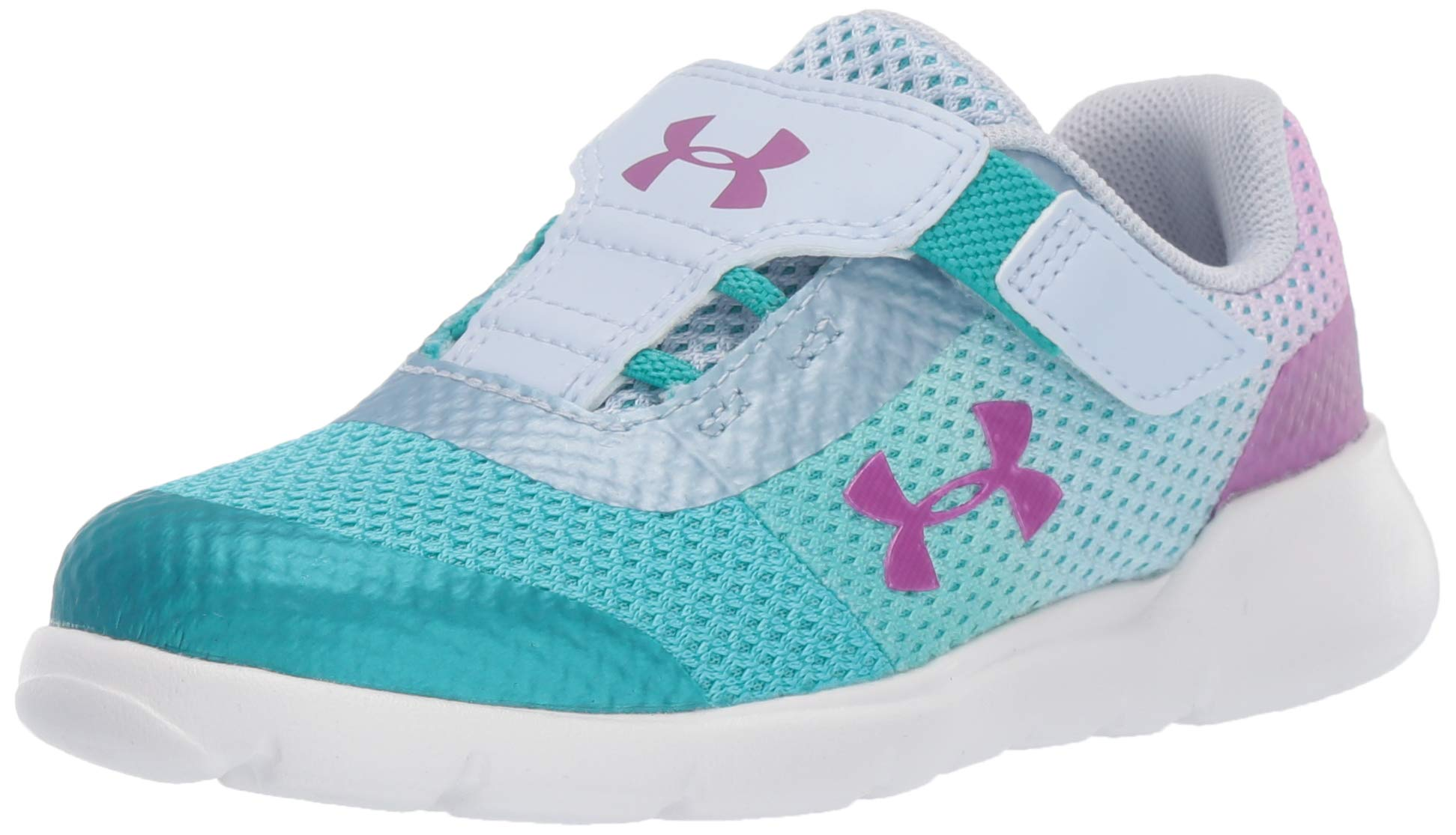 Under Armour Girls' Infant Surge RN Sneaker, Breathtaking (302)/Moonstone Blue, 10 by Under Armour