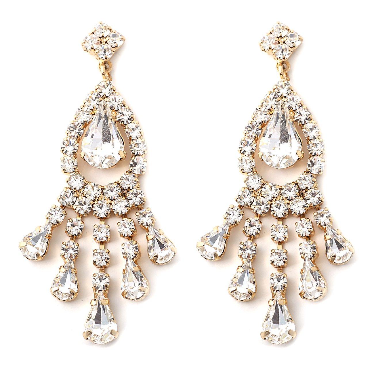 Amazon.com: Silver Aurora Borealis Rhinestone Chandelier Drop Dangle Earrings: Chandelier Earrings Wedding: Jewelry