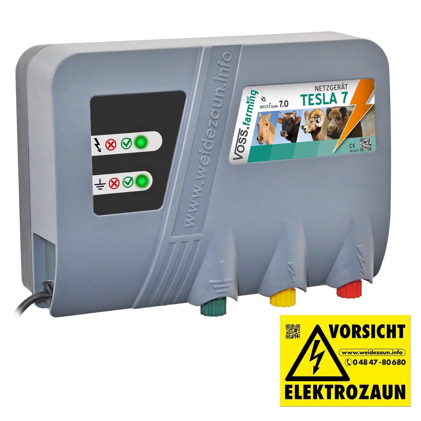VOSS.farming Weidezaungerät Tesla 7 Duo Extra Power: 230 V, 10000 Volt, 7 Joule, für Lange Zäune, Starker Bewuchs Elektrozaungerät 230 V Pferd für Lange Zäune