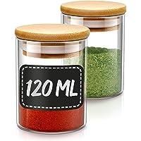 Praknu zestaw słoików na przyprawy, 10 szklanych pojemników z 10 etykietami, 120 ml, hermetyczne, nadają się do mycia w…