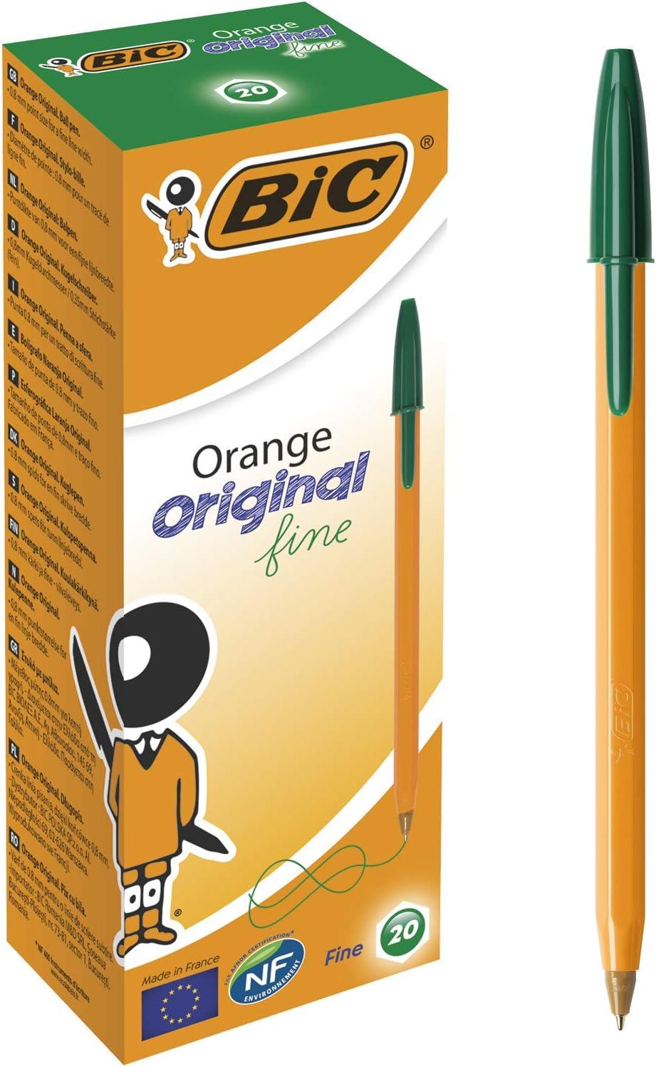 BIC Kugelschreiber Orange Original fine, 0.3 mm Schachtel /à 20 St/ück gr/ün