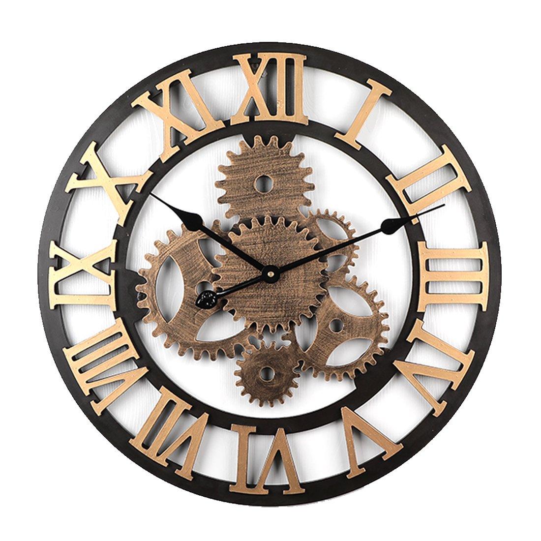 TENGER Retro Uhr Große Wohnzimmer Wanduhr XXL Vintage Lautlos Uhr 3D Dekorative Zahnrad mit Römischen Ziffern für Wohnzimmer, Schlafzimmer, Kinderzimmer, Büro, Cafeteria und Restaurant,Ø 58cm