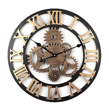MAJOZ 58cm Reloj de Pared Vintage Reloj de Pared Silencioso Cocina Decorativo Antiguo Hecho a Mano de Madera Vintage 3D Diseño de Gear (Dorado -6 ...