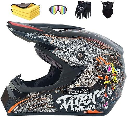 Mxymc Motorradhelm Cross Helme Schutzhelm Motocross Helm Für Motorrad Crossbike Off Road Enduro Sport Mit Handschuhe Sturmmaske Und Brille Light Gray 57 58 Cm Auto