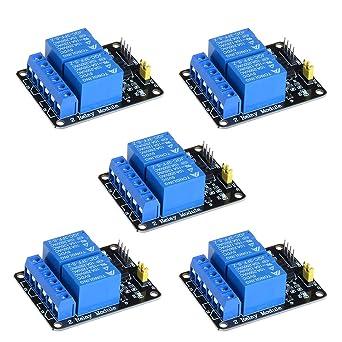 Amazon.com: Anmbest - 5 módulos de relé de 2 canales 5 V 10 ...