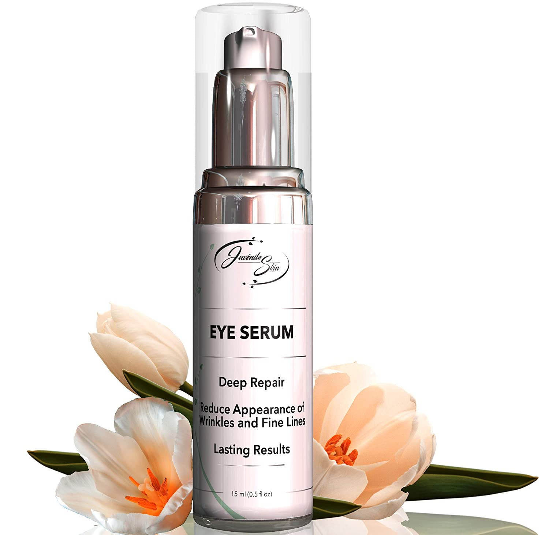 Juv nile Skin Vitamin C Eye Serum with Hyaluronic Acid, Retinol and Collagen Natural Eye Lift Serum and Moisturizer To Reduce Dark Circles, Under Eye Bags, Puffiness, and Wrinkles 30ml