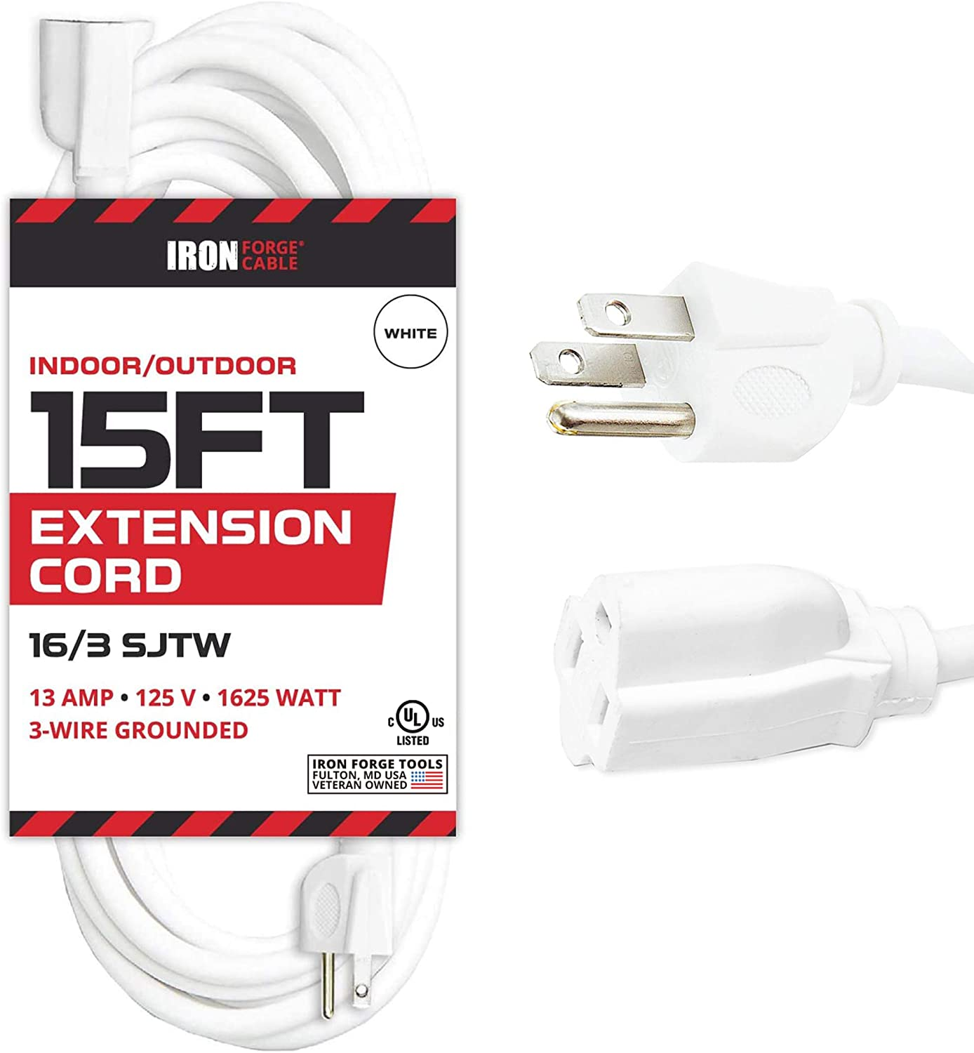 15 Ft White Extension Cord - 16/3 SJTW Durable Electrical Cable