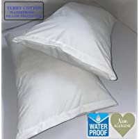 CCWB by Cotton Craft 100% Cotton Water Resistant Pillow Protector - Set of 2, White