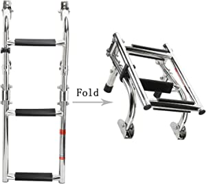 NovelBee Foldable Stainless Steel 3 Steps Ladder Stern Mount w Rubber Grips for Marine Boat Yacht (3 Steps:2+1 Steps)