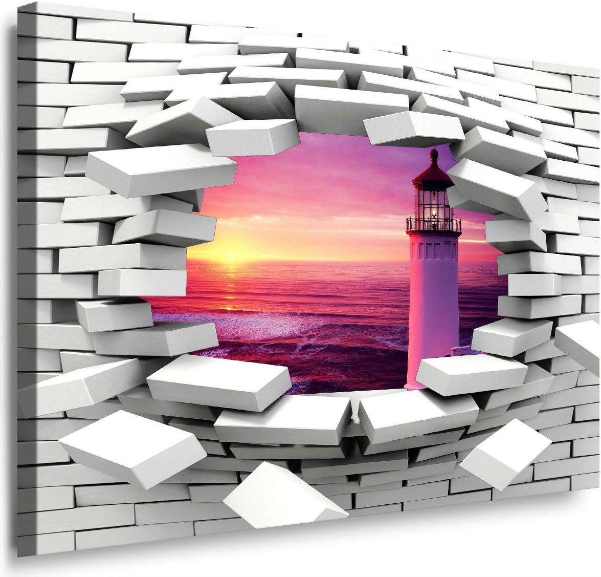 Julia-Art - Lienzo sobre Bastidor, diseño de mar con Faro Violeta, se Puede Colgar dalinda QN.130 - Cuadro de Pared (tamaño XXL), 150 x 100 cm