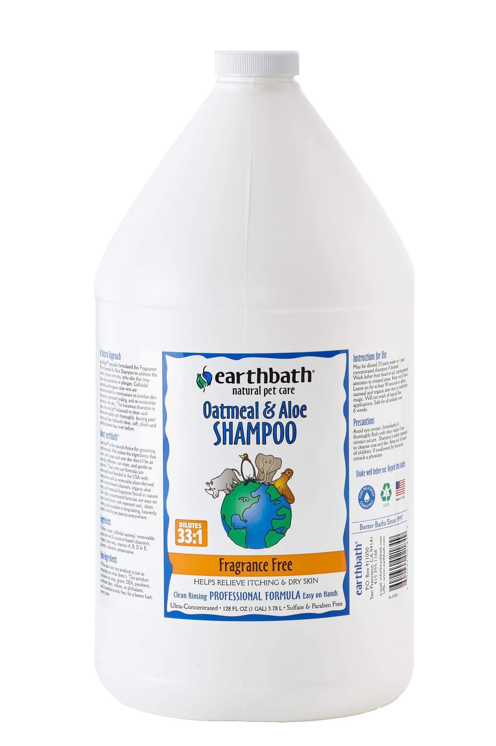 Earthbath Oatmeal and Aloe Shampoo Fragrance Free 1 Gallon