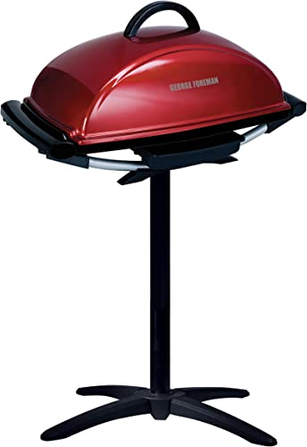 George Foreman 12-Serving Indoor Outdoor Rectangular Electric Grill, Red, GFO201R
