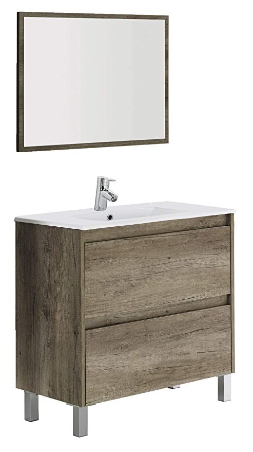 ARKITMOBEL Set Mobile Bagno e Specchio, Legno, Nordik, 80 x 80 x 45 ...
