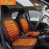 Tvird Cojín de calefacción del coche 12V Cubierta de asiento con calefacción para auto Calentador Pad climatizada Cojín calentador para el invierno (Negro)