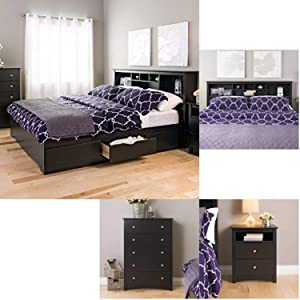 Prepac Sonoma 4-piece King Bedroom Set - Black