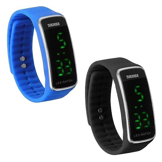 JewelryWe 2pcs Reloj LED Deportivo Digital Reloj de Pulsera Para Hombre Mujer, Relojes para Parejas Enamorados Buen Regalo para Navidad/Cumpleaños: ...