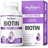 Biotin 10000mcg with Coconut Oil for Hair Growth, Natural Hair, Skin and Nails Vitamins - High Potency Biotin, Non-GMO…