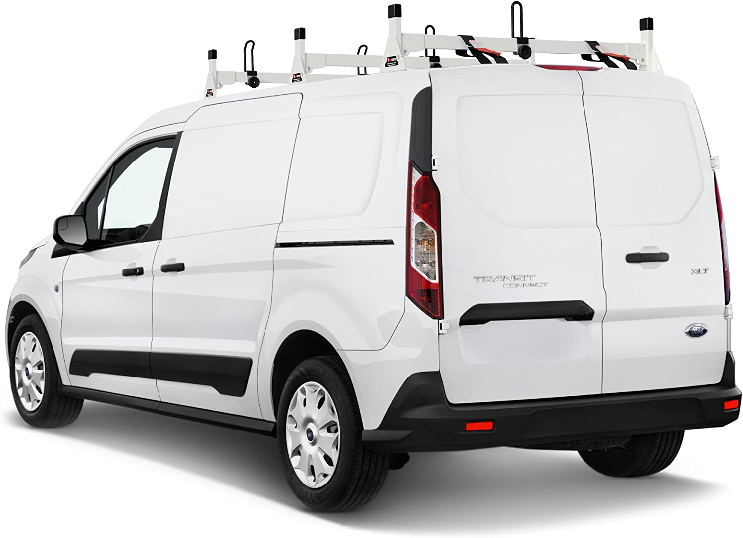 Steel H1 Low Profile 2 Bar Ladder Roof Rack for a Transit Connect 2014-Newer Black