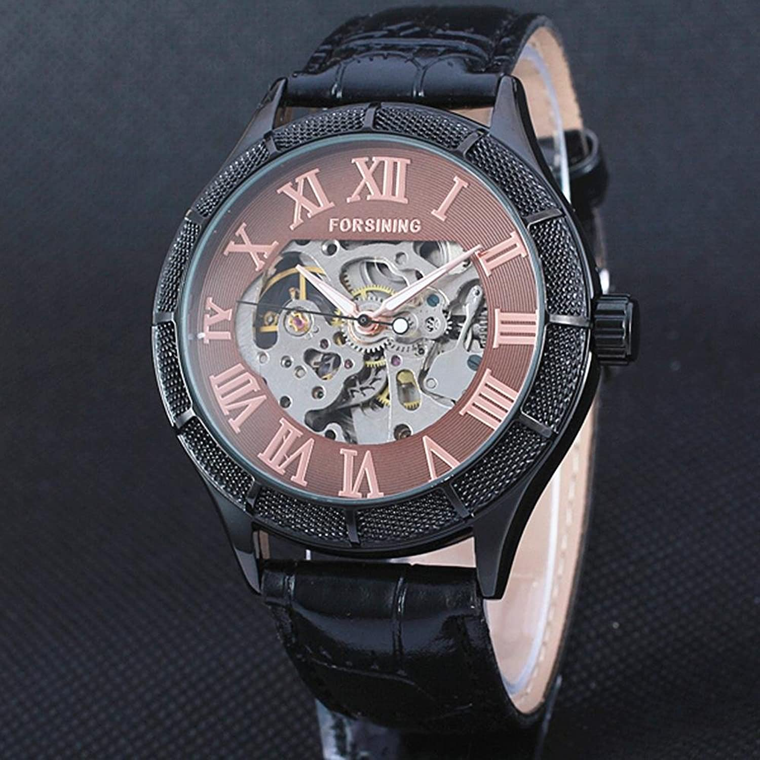 Amazon.com: Forsining Skeleton Watch Transparent Roman Number Men Mechanical Big Face Steampunk Wristwatches: Watches