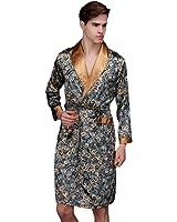 Y-BOA Peignoir Kimono Homme Printemps/Été Robe Bain Chambre Satin Motif