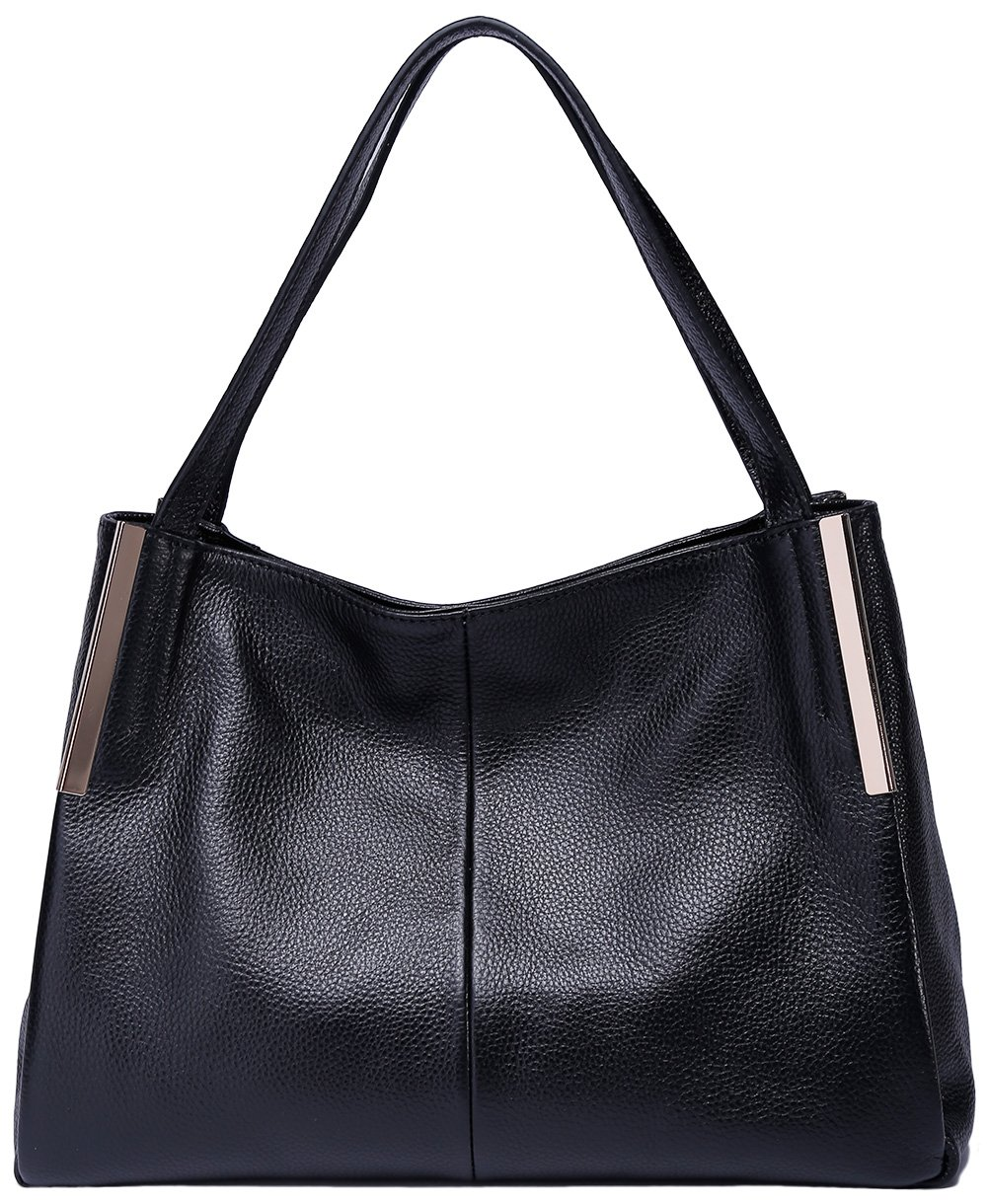 BOYATU Fashion Women Leather Shoulder Bag Commuter Business Package Casual Tote (Black)
