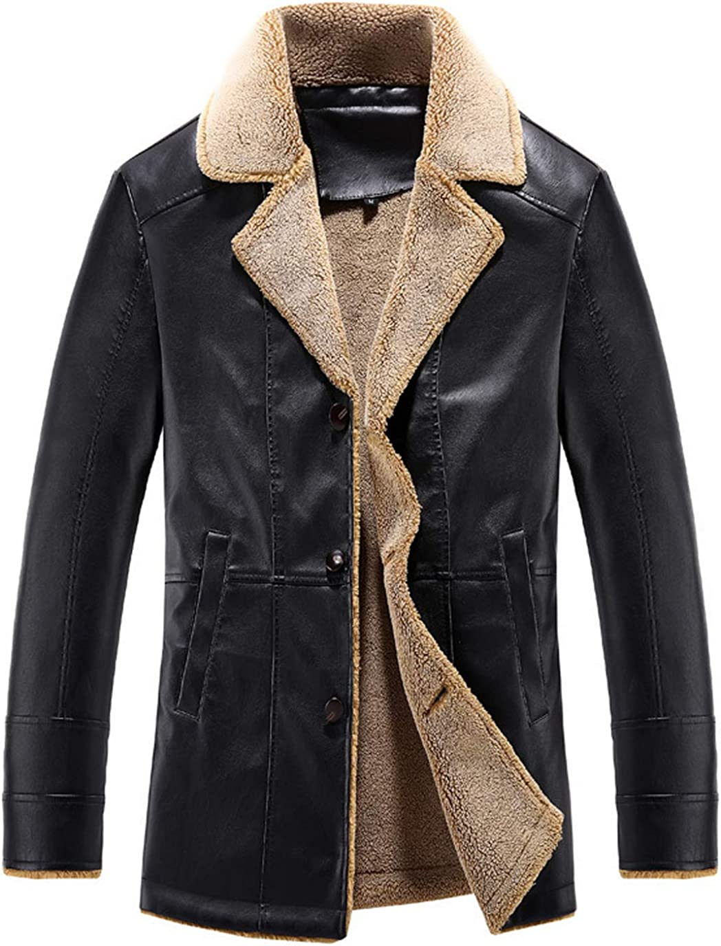 chouyatou Mens Classical Lapel Collar Three Button Sherpa Lined Faux Leather Suit Jacket