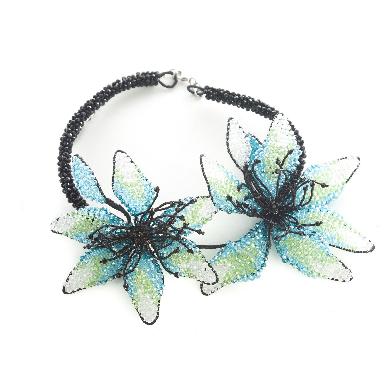 Marina Rinaldi Womens Leonida Beaded Floral Collar Necklace Black//Blue//Green