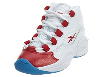 Reebok Question Mid Little Kids Style  V68697-WHITE PEARLIZED RED Size  10.5 0e7acac03