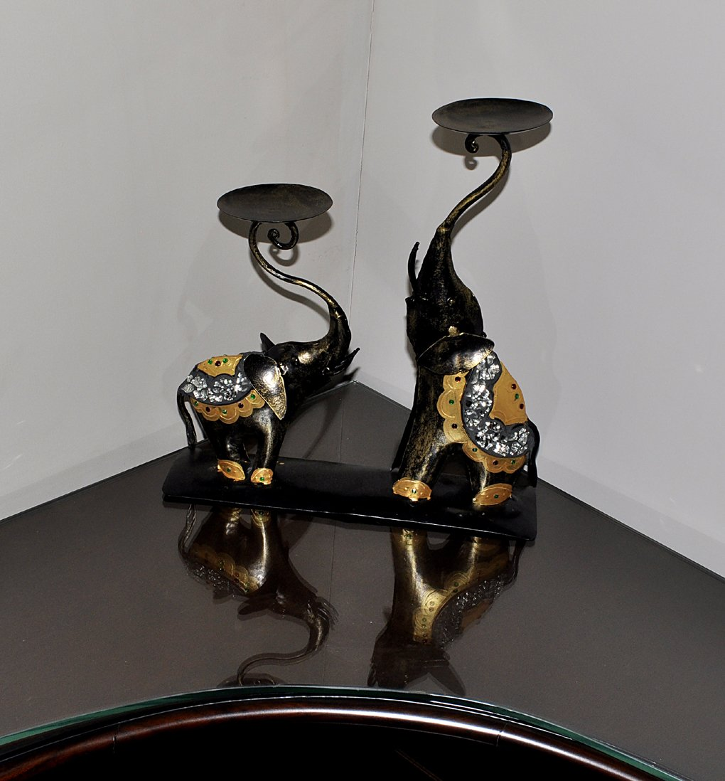 Elephant Candle Holder 15 X 14 X 4 Inches Black Color Christmas Gifts by Lalhaveli