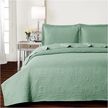 Mellanni Bedspread Coverlet Set Olive-Green Comforter Oversized 3-Piece Quilt Set (Full/Queen, Olive Green)