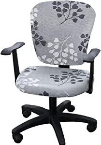 Comqualife Stretch Printed Computer Office Chair Covers Washable Anti-Dust Universal Spandex Chair Back Cover Seat Cover Rotating Chair Slipcovers, Light Green