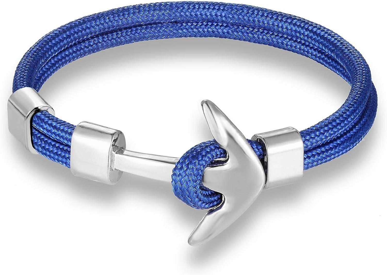 Pulsera de cuerda con ancla, pulsera náutica para hombre y mujer turquesa: Amazon.es: Joyería