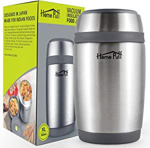 HomePuff Vacuum Insulated Food Jar Thermos & Container - Stainless Steel, Double Wall (19.6 Oz)