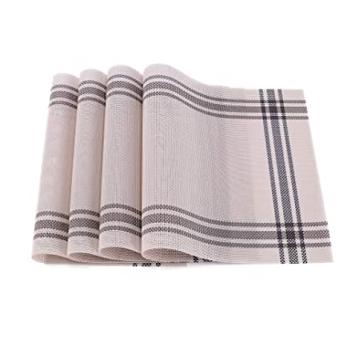 Yun Chang Heat-Resistant Placemats Stain Resistant Anti-Skid Washable PVC Table Mats Woven Vinyl Placemats, Set of 4 (Beige)