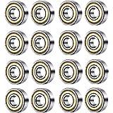 ベアリング 20個 Vixker ミニチュアベアリング 炭素鋼 608zz 608ZZ スチール 両シール付 深い溝 玉 ベアリング 8x22x7mm スケートボード ローラーブレードスクーター シルバー 修理部品