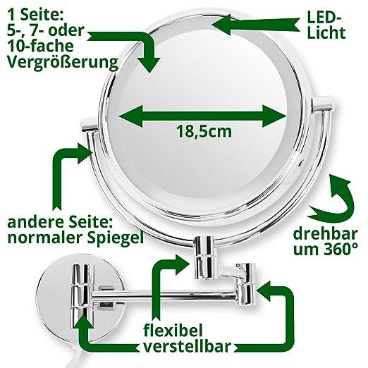 Interessant casa pura® Kosmetikspiegel für die Wandmontage | mit LED  AN13