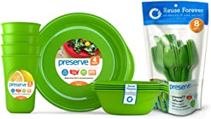 Preserve Reusable BPA Free Everyday Tableware Set with Cutlery Made from Recycled Plastic: 4 Plates, 4 Bowls, 4 Cups and 24 pieces of Cutlery, Apple Green