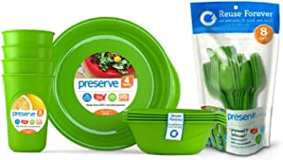 product image for Preserve Reusable BPA Free Everyday Tableware Set with Cutlery Made from Recycled Plastic: 4 Plates, 4 Bowls, 4 Cups and 24 pieces of Cutlery, Apple Green