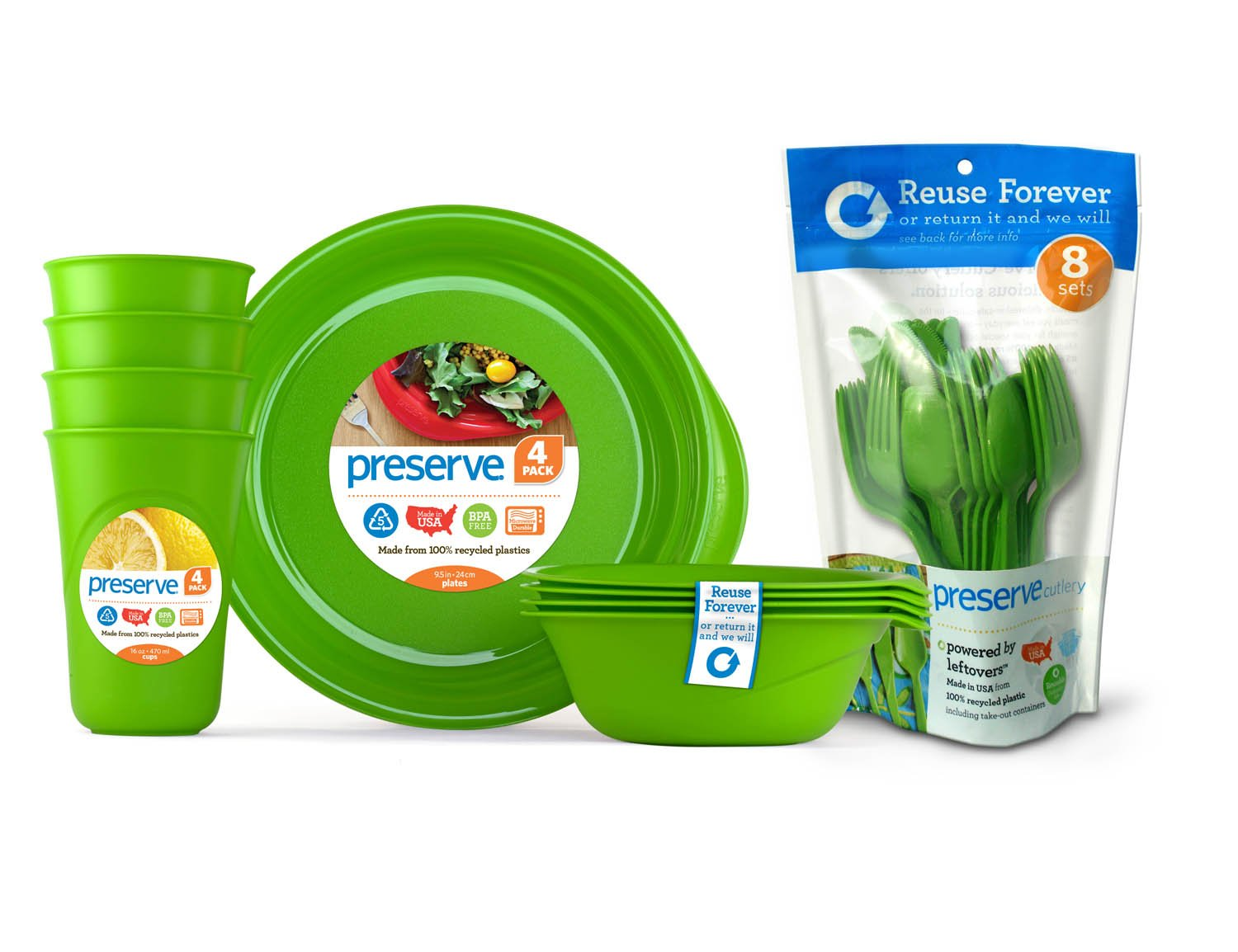 Preserve Everyday Tableware Set with Cutlery, Apple Green