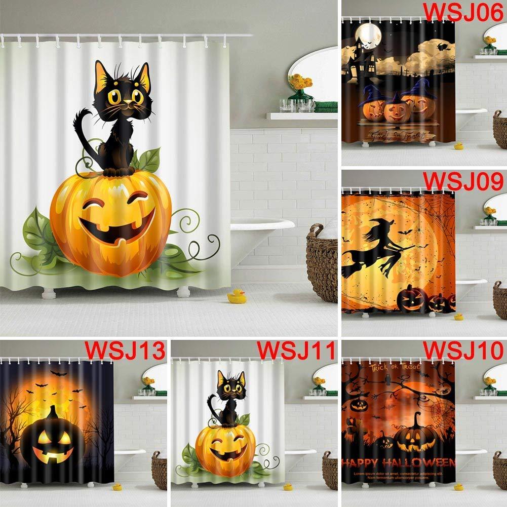 Dastrues Halloween S/éries Rideau Douche 3D Impression Num/érique Bain D/écorations Rideaux de Douche avec Crochets S-WSJ01